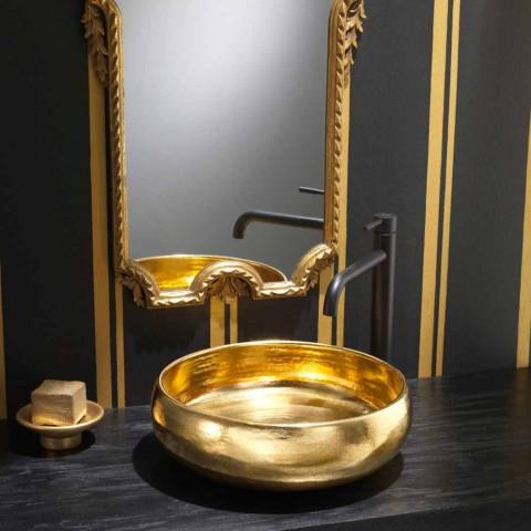 Gold raku design countertop washbasin made in Italy, Ramon
