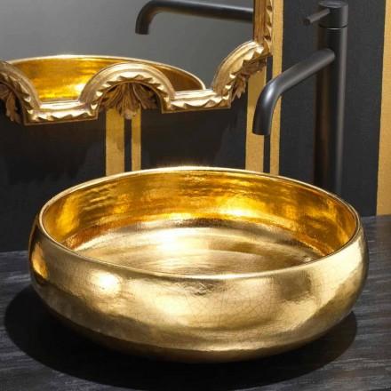 Design countertop sink in 24k raku pottery, Ramon