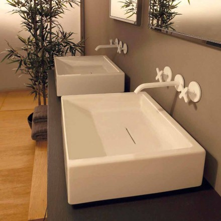 Rectangular ceramic countertop wasbasin Dalia, made in Italy