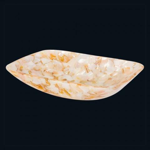 Design countertop washbasin in artificial resin and Cruz mother of pearl