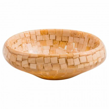 Design countertop washbasin handmade of beige resin, Busalla