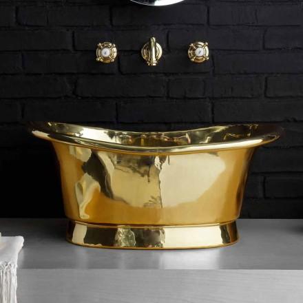 Countertop vintage design washbasin entirely in Calla brass