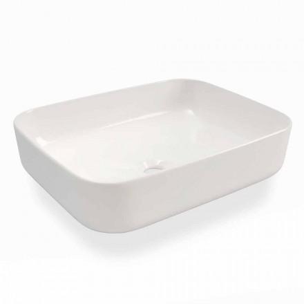 Modern Design Countertop Washbasin in White Ceramic Made in Italy - Turku