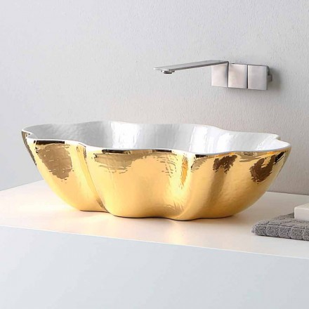 Modern design ceramic countertop washbasin made in Italy Cubo