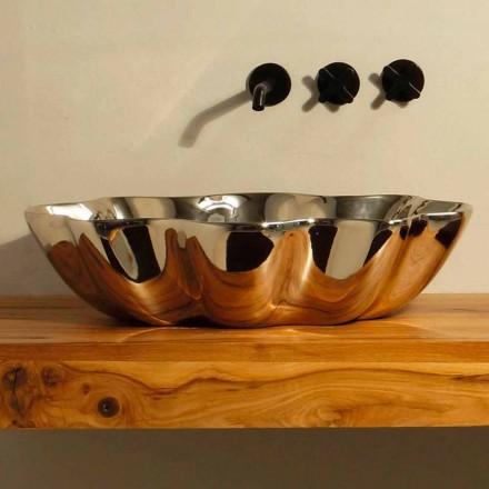 Modern design ceramic countertop basin Cubo, made in Italy