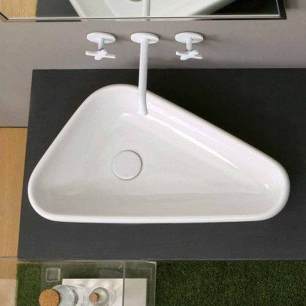 Modern round ceramic countertop washbasin Sofia, made in Italy