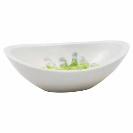 Design countertop washbasin handmade of white resin, Buronzo