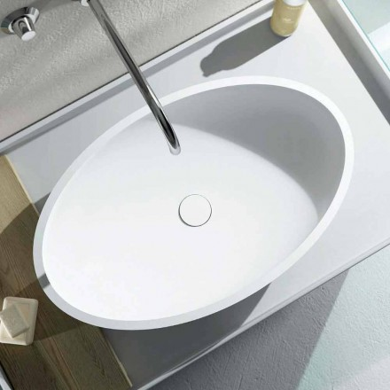 Design countertop oval washbasin produced 100 % in Italy, Frascati