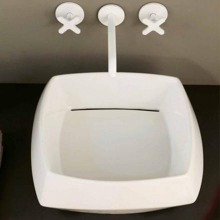 White ceramic countertop sink Simon, modern design made in Italy