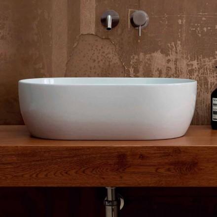 Countertop washbasin in white or colored ceramic, Star, 55x35 cm