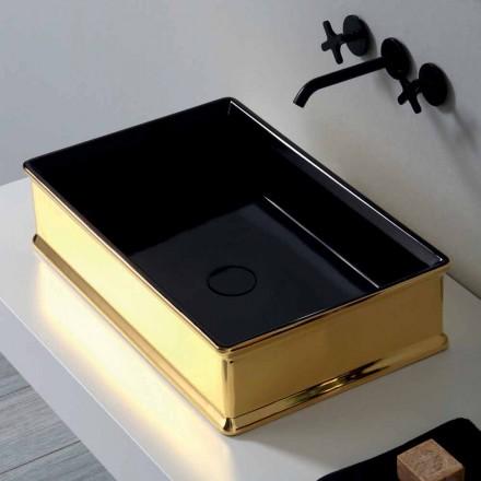 Bicolor ceramic countertop washbasin produced in Italy Debora