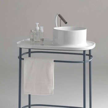 Washbasin in full ceramic metal base Marta