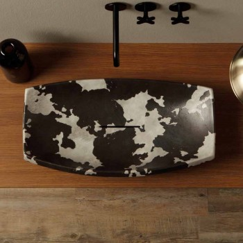 Countertop washbasin in spotted ceramic of design made in Italy Laura