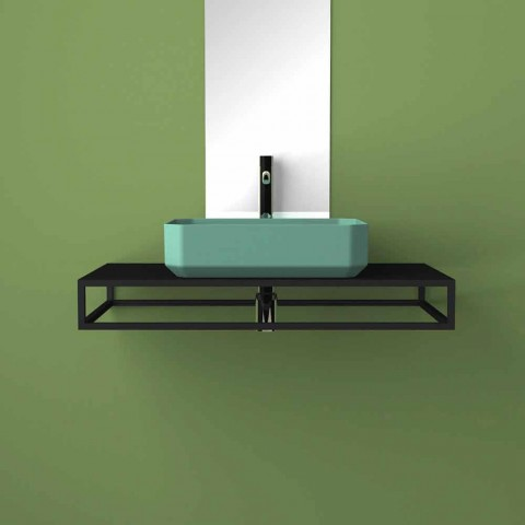 Modern ceramic counter top washbasin made in Italy, Zulimo