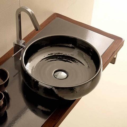 Raku ceramic counter top washbasin handmade in Italy, Ramon
