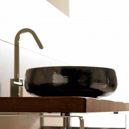 Countertop sink in raku pottery handmade in Italy, Ramon