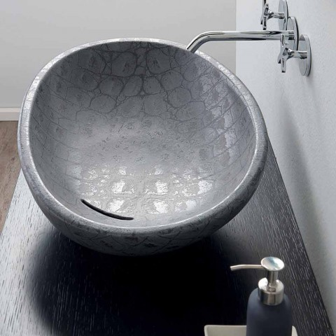Countertop washbasin in gray coconut printed ceramic made in Italy Glossy