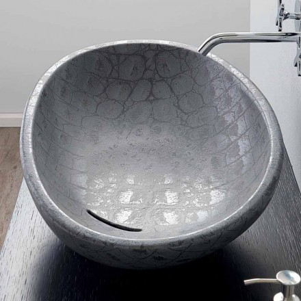 Countertop washbasin in ceramic with gray coconut print Glossy