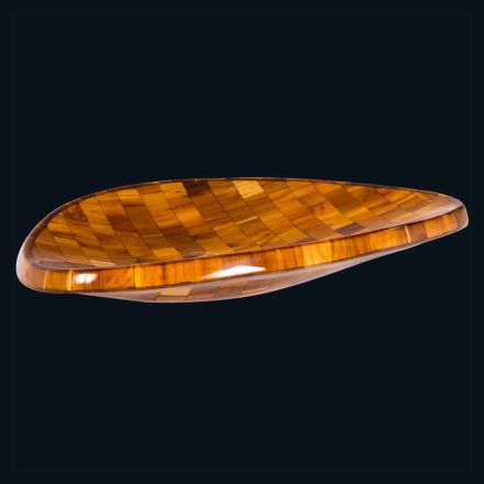 Countertop washbasin in teak wood and resin Aura, unique piece