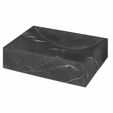 Squared Black Marquinia Marble Countertop washbasin Made in Italy – Bernini