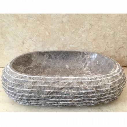 Grey stone countertop washbasin Ivy, handcrafted design unique piece