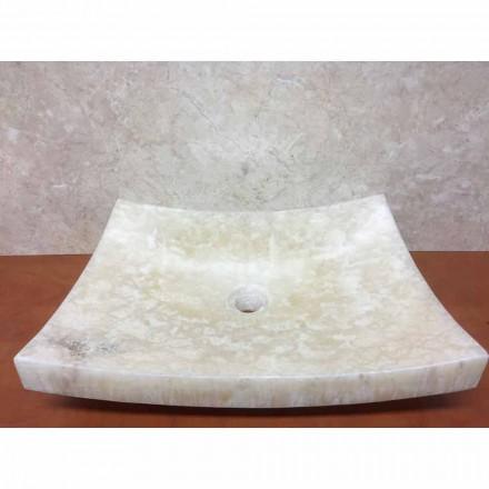 Countertop washbasin made of natural onyx stone Love, handmade