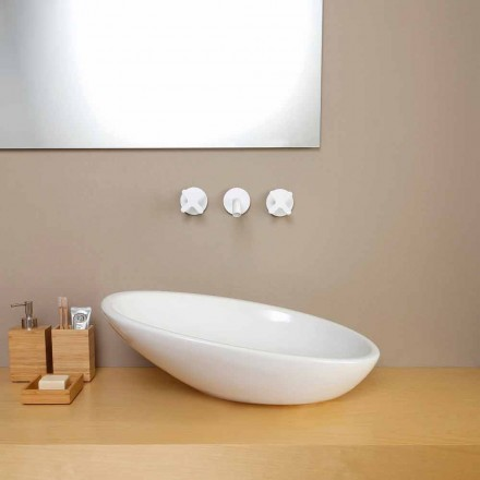 Modern design ceramic countertop basin Glossy, made in Italy