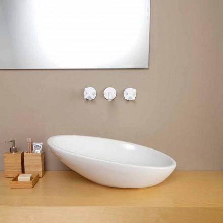 Modern design ceramic countertop basin Glossy, made in Italy