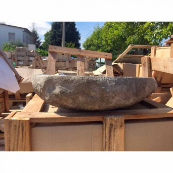 Countertop Washbasin Handcrafted in River Stone - Aurea