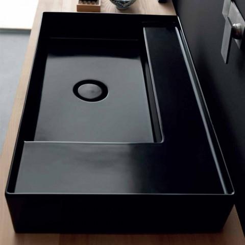 Washbasin support modern black ceramic Icon Alice Ceramics