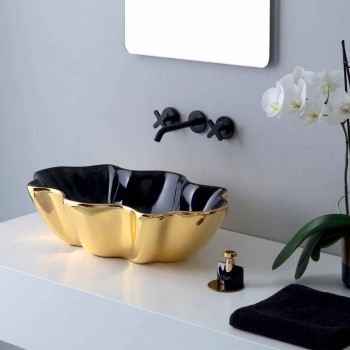 Modern countertop washbasin in gold and black ceramic made in Italy Cube