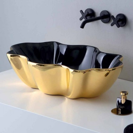 Countertop washbasin in golden and black ceramic made in Italy Cubo