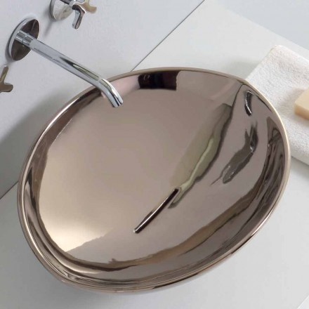 Modern platinum ceramic countertop washbasin produced in Italy