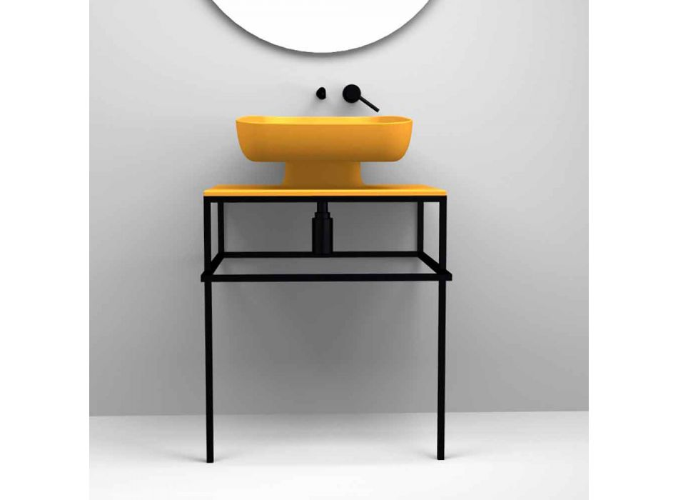 Modern ceramic countertop washbasin made in Italy, Reale