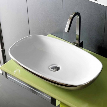 Modern countertop sink in fire clay handmade in Italy, Azelio