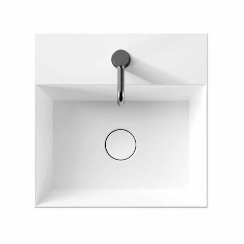 Countertop or Wall-hung Washbasin in Ceramic Square Design - Malvina