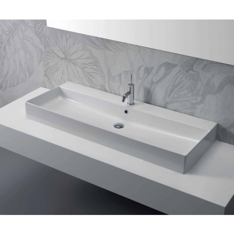 Leaning or Wall Wash Basin in Colored Ceramic or White Leivi