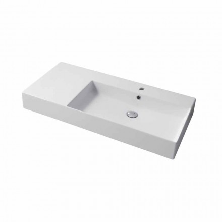 Right single hole countertop or wall-mounted sink in ceramic Leivi