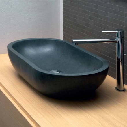 Black basalt oval countertop washbasin Riau