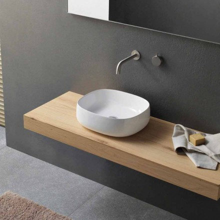 Countertop Washbasin in White Ceramic Modern Oval Design - Tune3