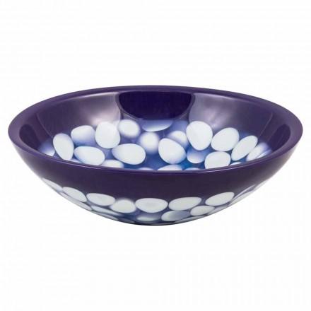 Design handmade countertop washbasin in resin, Buccheri, unique piece
