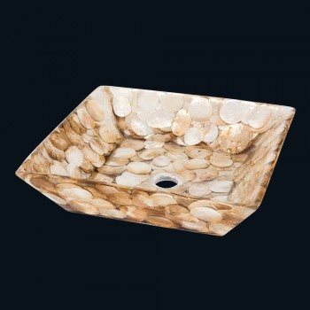 Akira design square countertop washbasin, in artificial resin