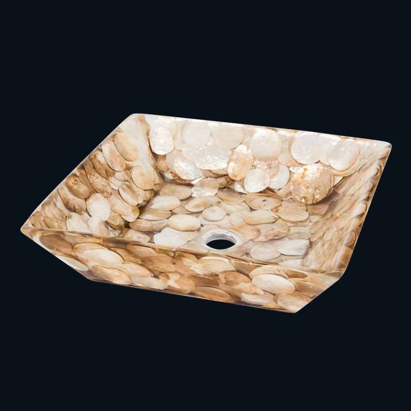 Akira design square countertop washbasin, in artificial resin