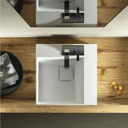 Modern design square countertop washbasin made 100 % in Italy, Lavis