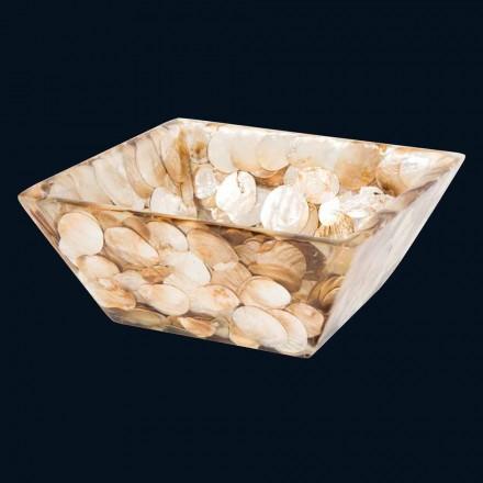 Square handmade countertop washbasin in artificial resin Achea