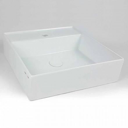 Modern Square Ceramic Countertop Washbasin Made in Italy - Piacione