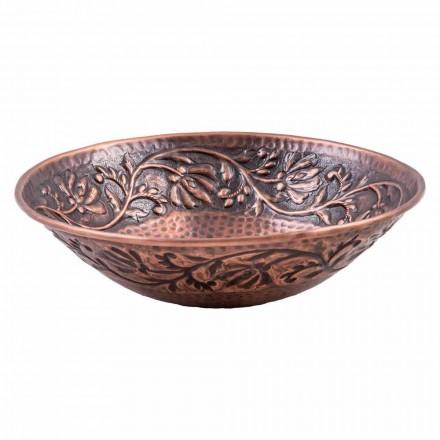 Handmade countertop washbasin in copper, Pallare, unique piece