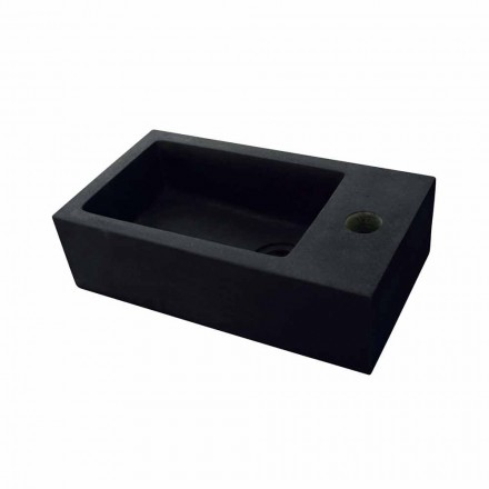 Black basalt stone rectangular washbasin Beli