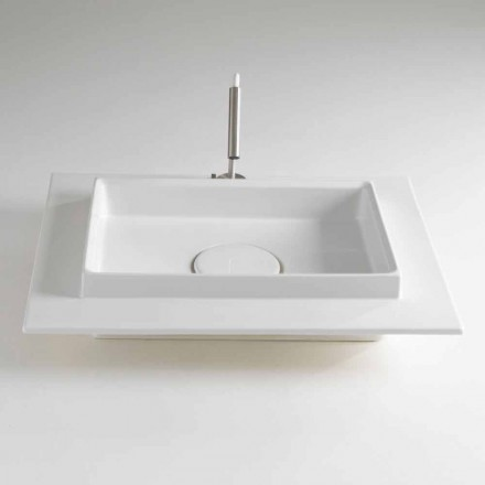 Rectangular Countertop Washbasin in Colored Ceramic Made in Italy - Voltino