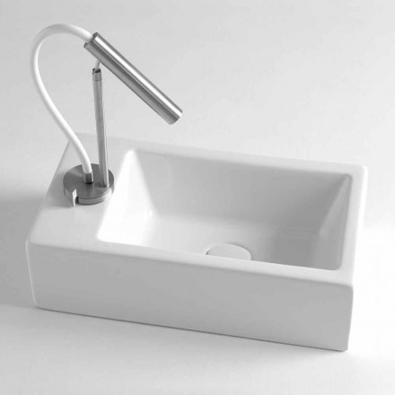 Rectangular Countertop Washbasin L 44 cm in Ceramic Made in Italy - Federica